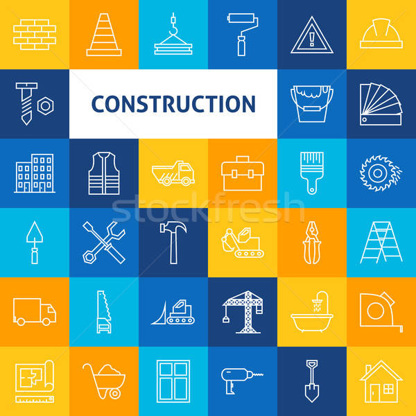 Vector Line Art Construction Icons Set Stock photo © Anna_leni