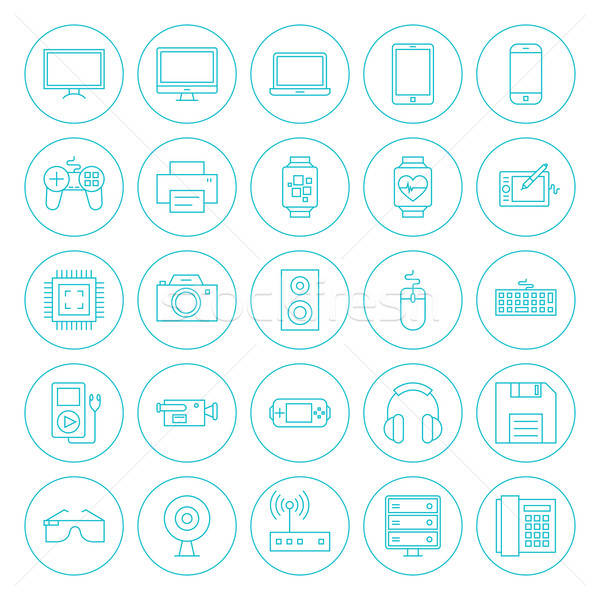 Line Circle Technology Gadgets Icons Set Stock photo © Anna_leni