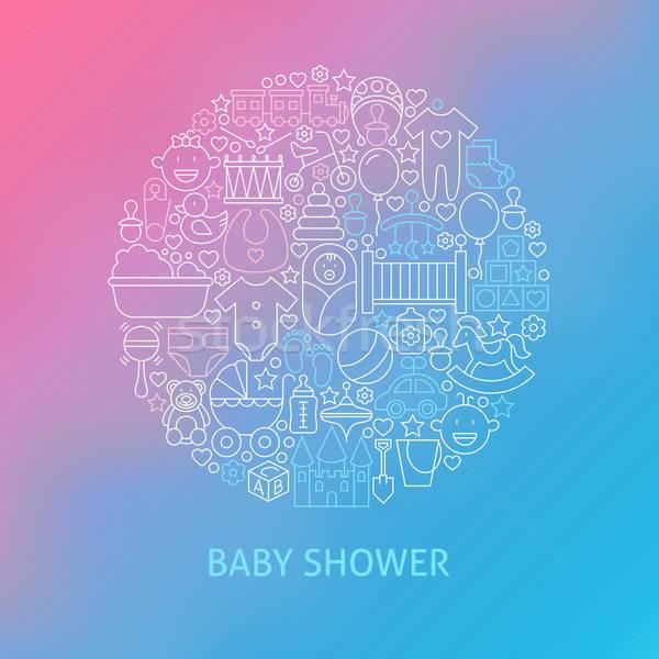 Thin Line Baby Shower Icons Set Circle Concept Stock photo © Anna_leni