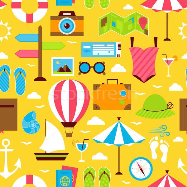 Citromsárga nyár utazás utazás csempe minta Stock fotó © Anna_leni