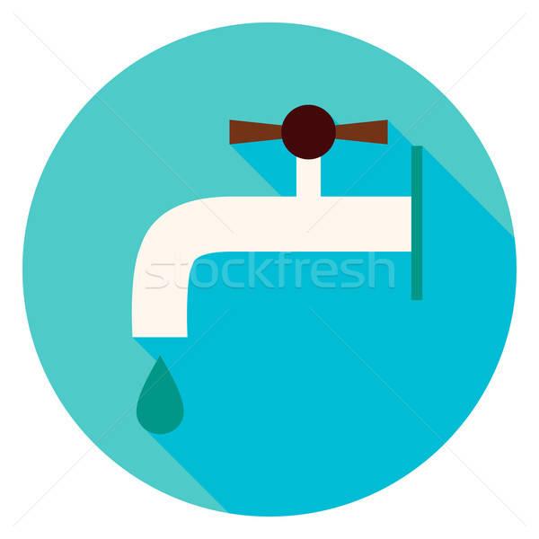 Eau robinet cercle icône design longtemps Photo stock © Anna_leni