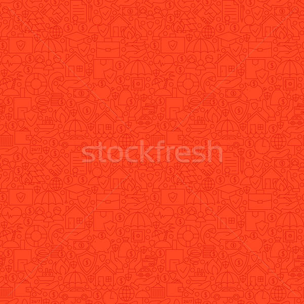 Thin Line Red Insurance Seamless Pattern Stock photo © Anna_leni