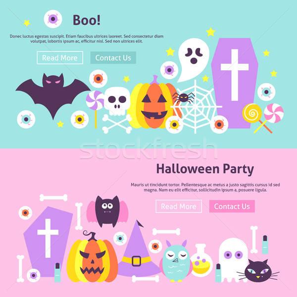 Trendi halloween háló bannerek fejléc modern Stock fotó © Anna_leni