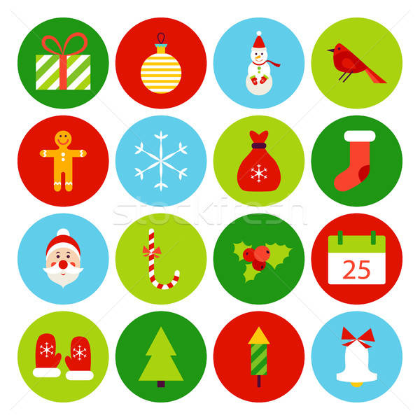 Foto stock: Navidad · iconos · invierno · vacaciones · colección · círculo