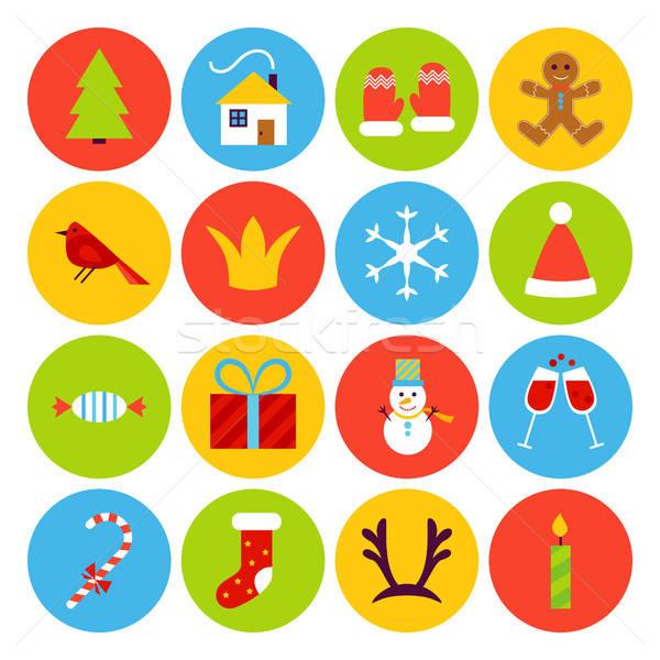 Сток-фото: Новый · год · иконки · веселый · Рождества · праздник · коллекция