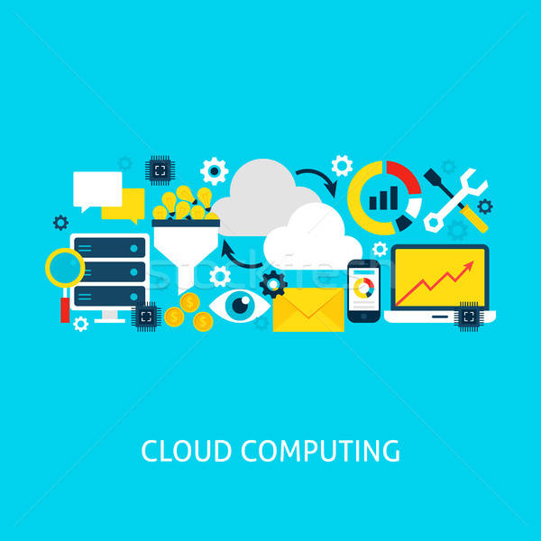 Cloud Computing Vector Flat Concept Stock photo © Anna_leni