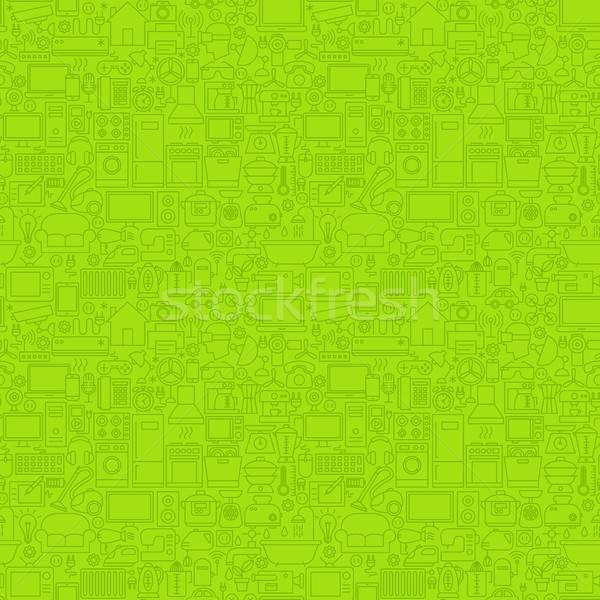 Green Line Household Seamless Pattern Stock photo © Anna_leni