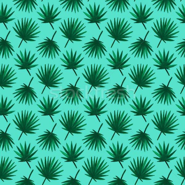 Pálmalevél végtelen minta illusztráció nyár trópusi tengerpart Stock fotó © Anna_leni