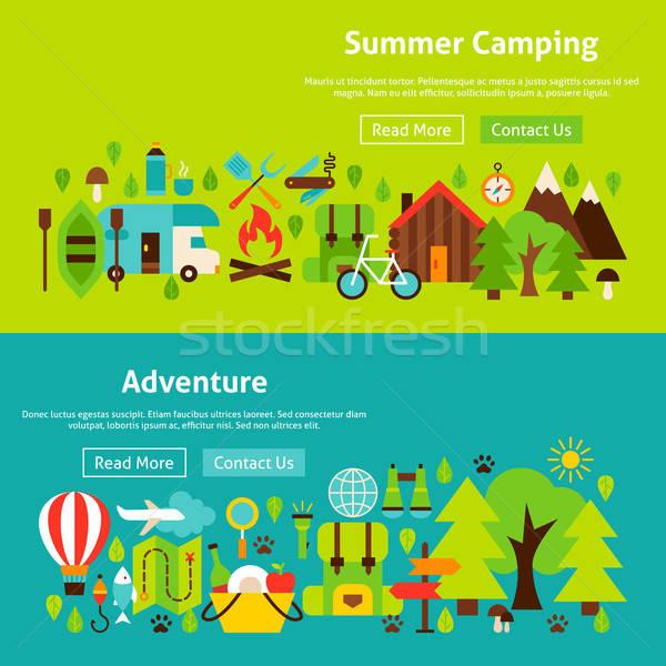 Kamp web sitesi afişler web orman Stok fotoğraf © Anna_leni