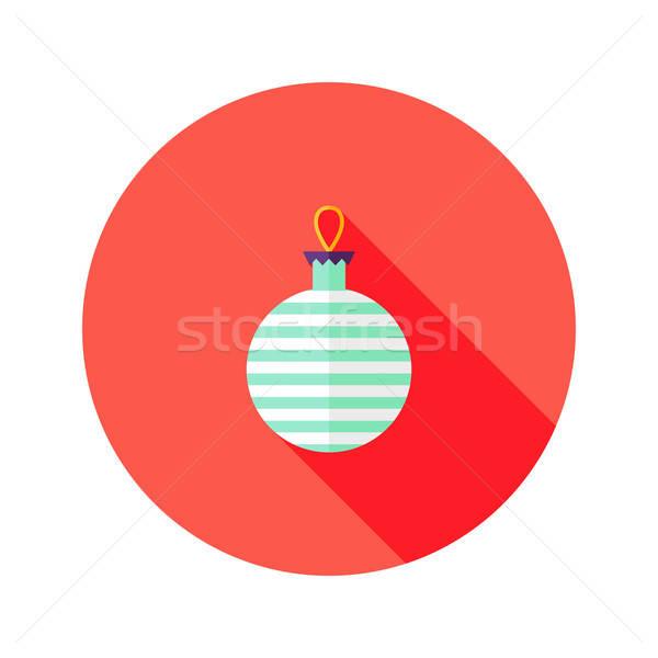 Decorative Stripped Christmas Ball Flat Icon Stock photo © Anna_leni