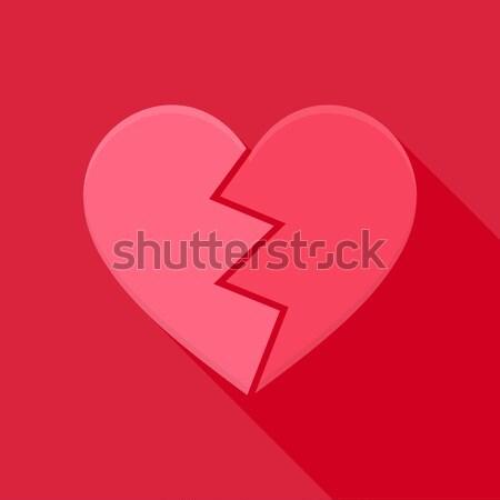 Stock fotó: összetört · szív · stilizált · tárgy · hosszú · árnyék · szív