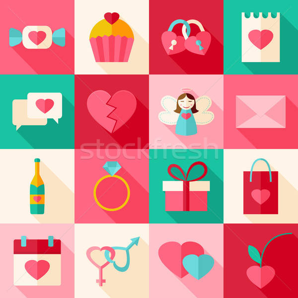 Valentine day flat style icon set with long shadow Stock photo © Anna_leni
