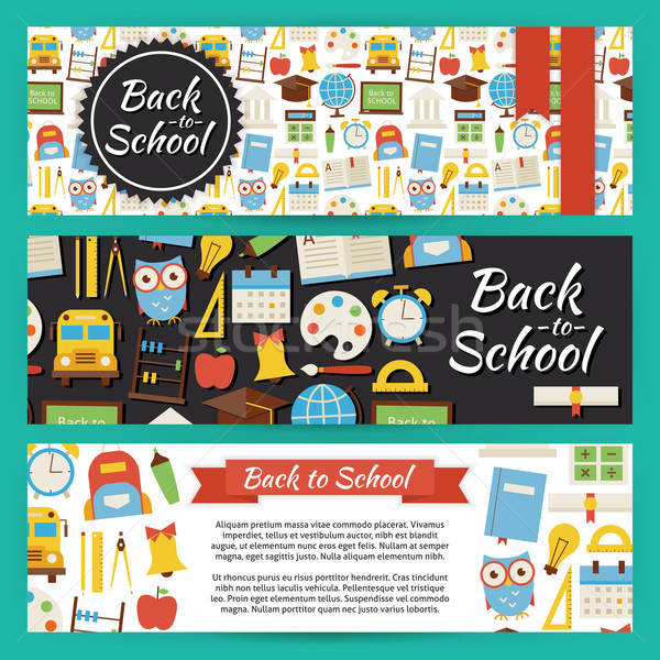 Back to School and Education Vector Template Banners Set in Mode Stock photo © Anna_leni
