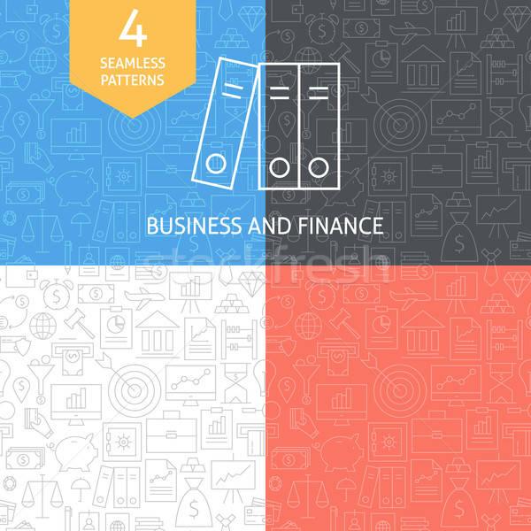 Thin Line Art Finance Business Banking Patterns Set Stock photo © Anna_leni