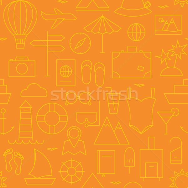 Thin Summer Holiday Line Vacation Resort Seamless Orange Pattern Stock photo © Anna_leni