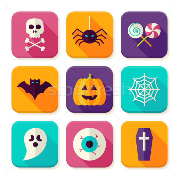 Flat Halloween Trick or Treat Square App Icons Set Stock photo © Anna_leni