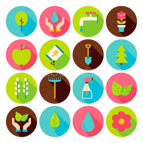 Stock photo: Spring Gardening Circle Icons Set with long Shadow