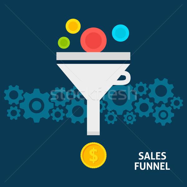 Sales Funnel Flat Concept Stock photo © Anna_leni