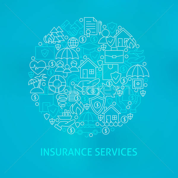 Line Insurance Services Icons Circle Stock photo © Anna_leni