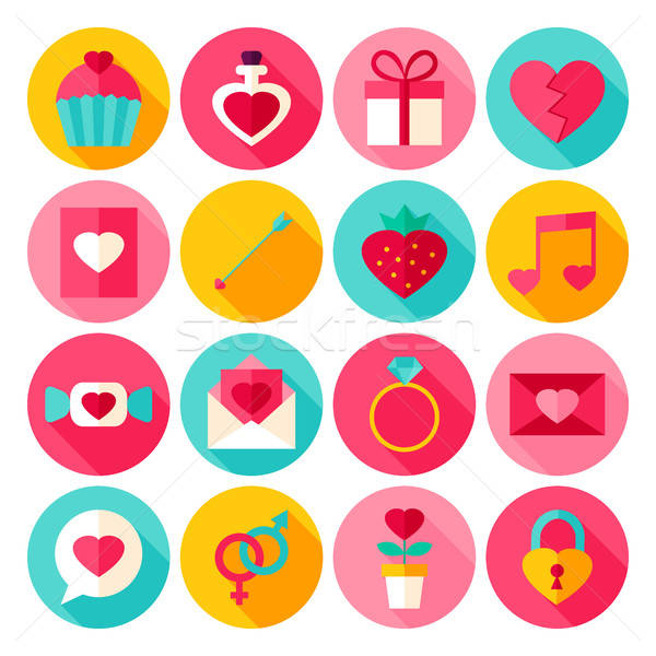 Stock photo: Valentine Day Flat Icons