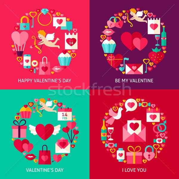 Photo stock: Saint · valentin · concepts · quatre · affiche · design