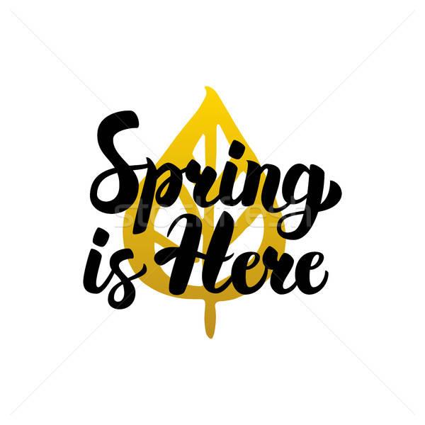 Zdjęcia stock: Wiosną · tutaj · kaligrafia · charakter · roślin