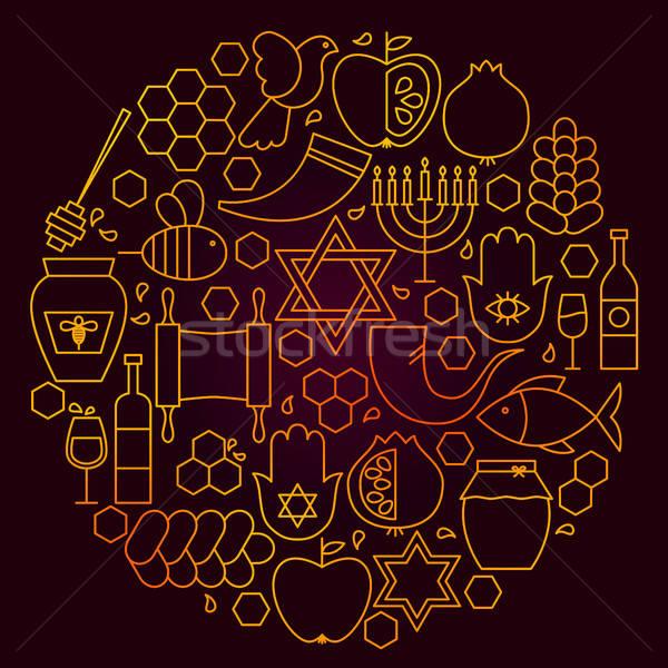 Rosh Hashanah Line Icon Concept Stock photo © Anna_leni
