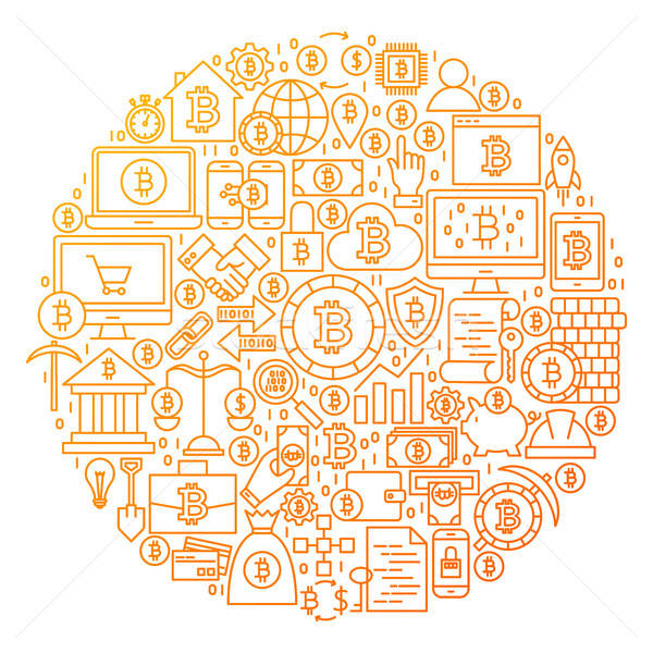 Bitcoin vonal ikon kör terv tárgyak Stock fotó © Anna_leni
