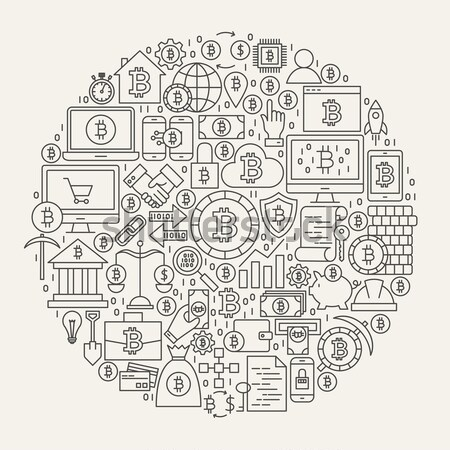 Cyber Security Line Icons Circle Stock photo © Anna_leni