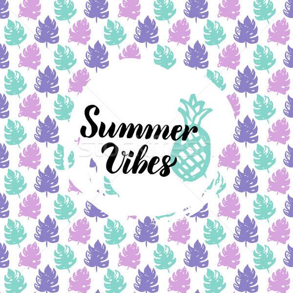 Nyár terv természet trendi képeslap kalligráfia Stock fotó © Anna_leni
