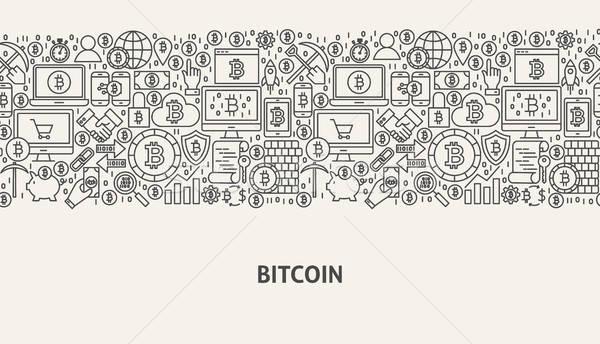 Bitcoin bandeira linha web design negócio dinheiro Foto stock © Anna_leni