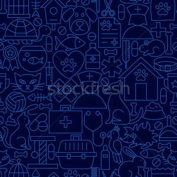 Pet Vet Line Seamless Pattern Stock photo © Anna_leni