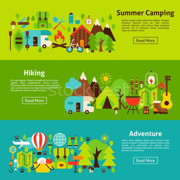 Kamp web yatay afişler stil web sitesi Stok fotoğraf © Anna_leni