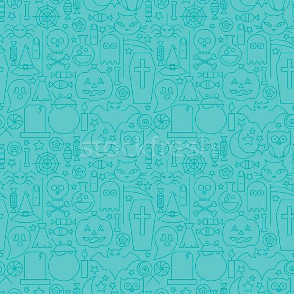 Thin Line Halloween Holiday Seamless Blue Pattern Stock photo © Anna_leni