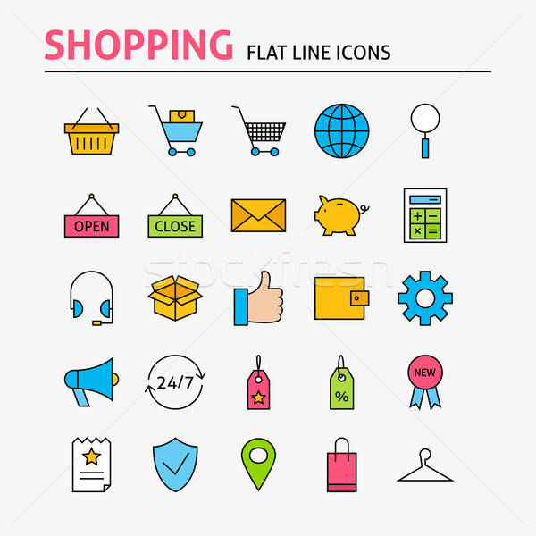 Online Shopping Colorful Flat Line Icons Set Stock photo © Anna_leni
