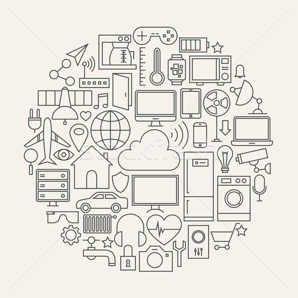 Stock photo: Internet of Things Line Icons Set Circle Shape