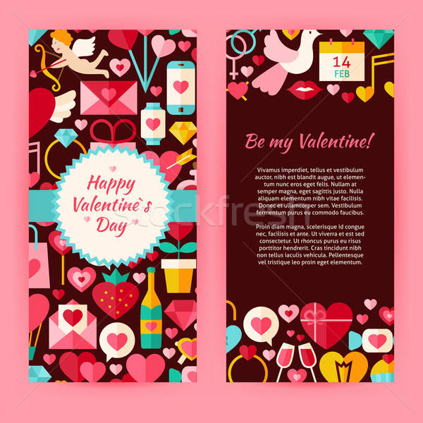 Flyer Template of Flat Happy Valentine Day Objects and Elements Stock photo © Anna_leni
