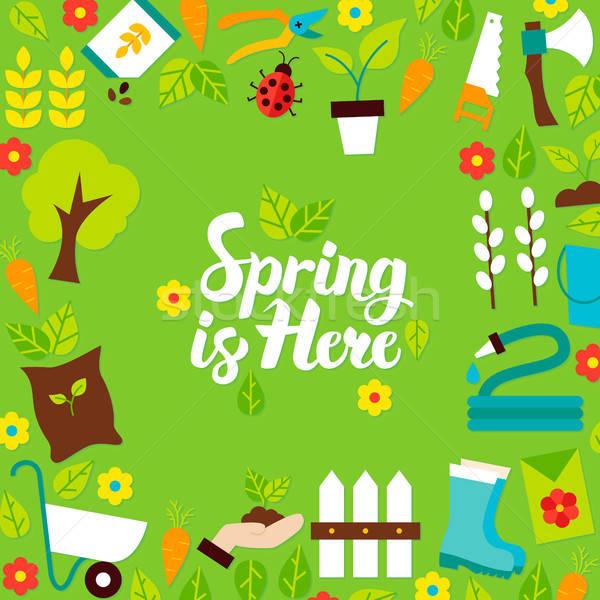 Voorjaar hier briefkaart stijl natuur tuin Stockfoto © Anna_leni