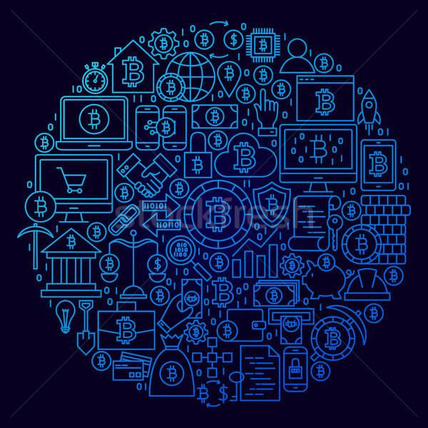 Bitcoin línea icono círculo negocios dinero Foto stock © Anna_leni
