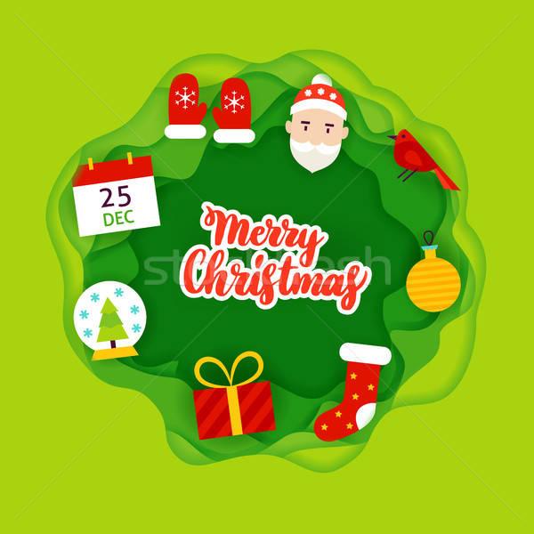 Merry Christmas Papercut Concept Stock photo © Anna_leni