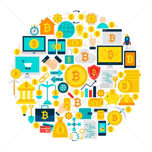 Bitcoin Icons Circle Stock photo © Anna_leni