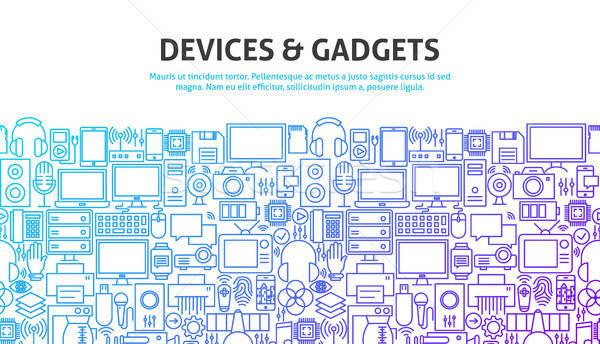 Gadgets lijn website banner ontwerp Stockfoto © Anna_leni