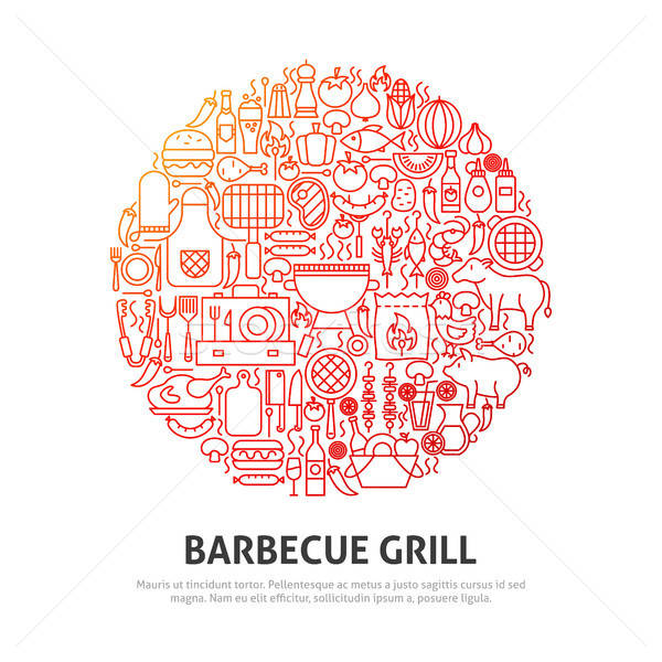 Barbecue cirkel schets ontwerp voedsel partij Stockfoto © Anna_leni