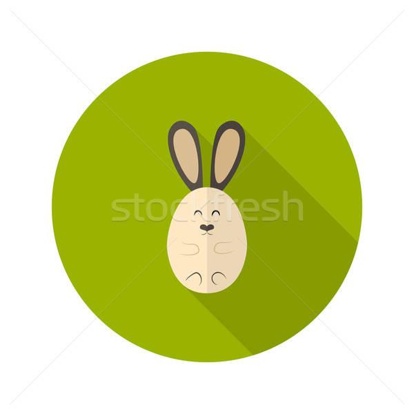 Ovaal konijn icon gelukkig natuur leuk Stockfoto © Anna_leni