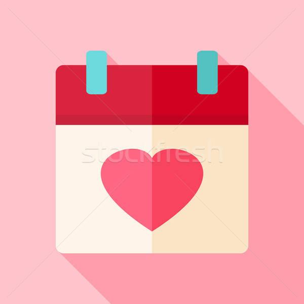 Valentine day holiday calendar with heart Stock photo © Anna_leni