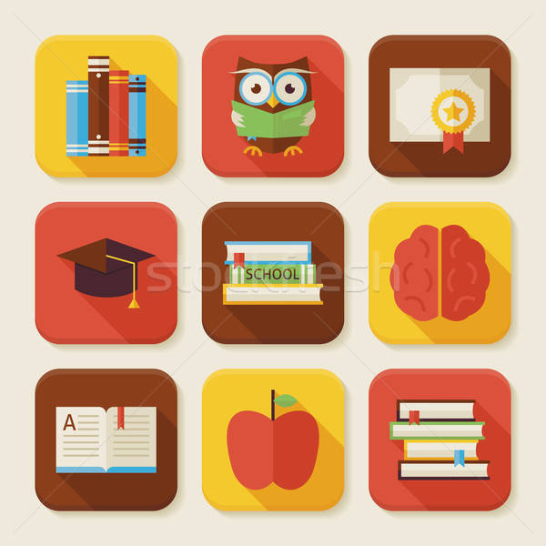 Flat Reading Knowledge and Books Squared App Icons Set Stock photo © Anna_leni
