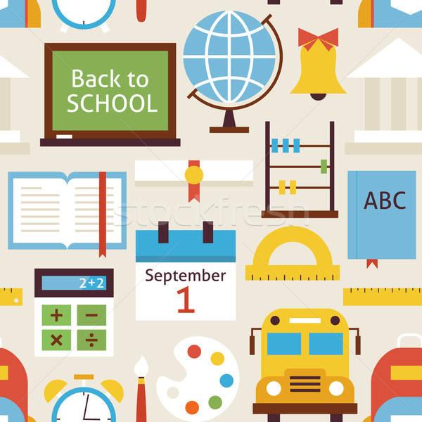 Foto stock: De · volta · à · escola · objetos · bege · padrão · estilo