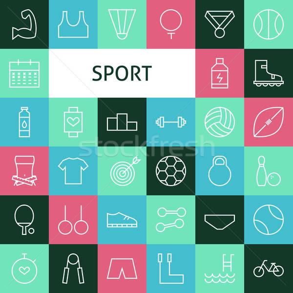 Vector Flat Line Art Modern Sports and Recreation Icons Set Stock photo © Anna_leni