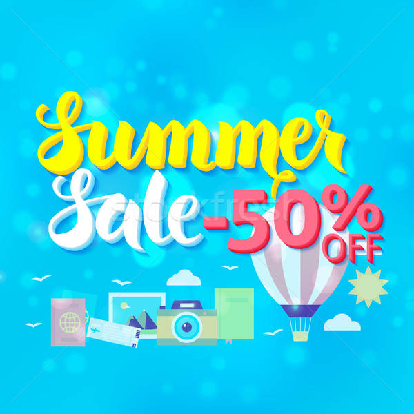 Summer Sale 50 Off Lettering over Blue Blurred Background Stock photo © Anna_leni