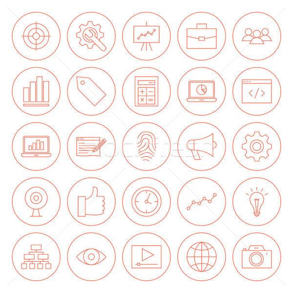 Line SEO Circle Icons Stock photo © Anna_leni